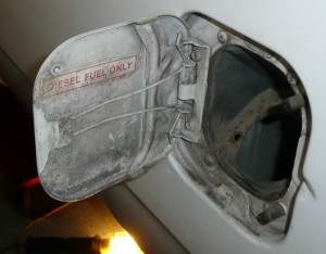 This is the fuel filler door which has the original Diesel Fuel Only Sticker.  This will match right up with the Cummins once its installed!