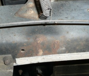 Another photo showing how steel was once welded to the Crew Cab Dually truck's frame. Photo also taken from Driver's side.