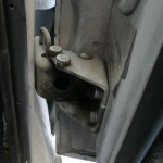 What my old hinges looked like installed on the truck.... PS side shown.